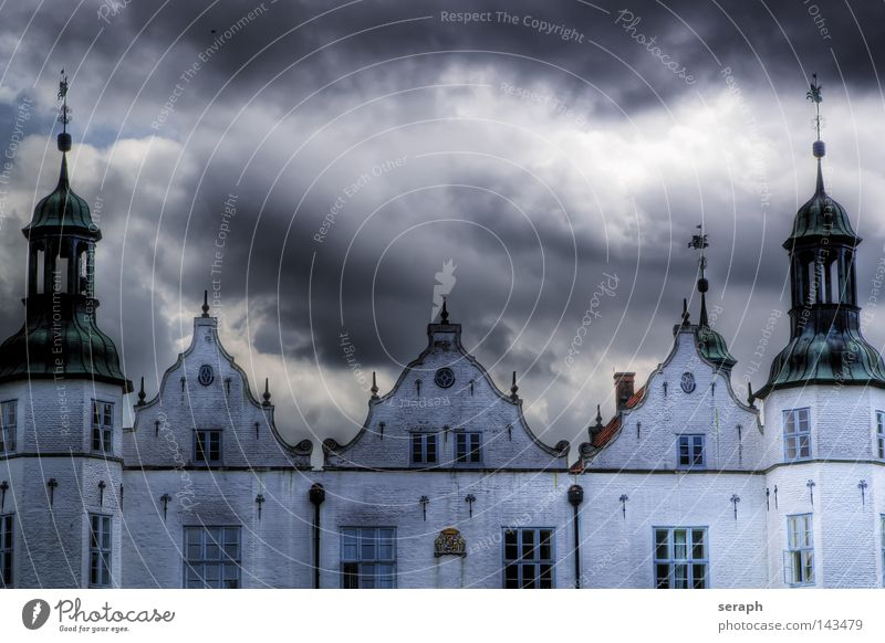 Castle Ahrensburg Hanseatic League Nordic Renaissance Manmade structures Facade Clouds Dramatic Schleswig-Holstein Building Culture Historic Gale Castle tower