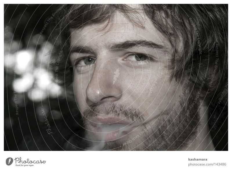 Human being Man Face Adults Masculine Smoking Smoke Facial hair Brunette Curl Addiction Beard Designer stubble