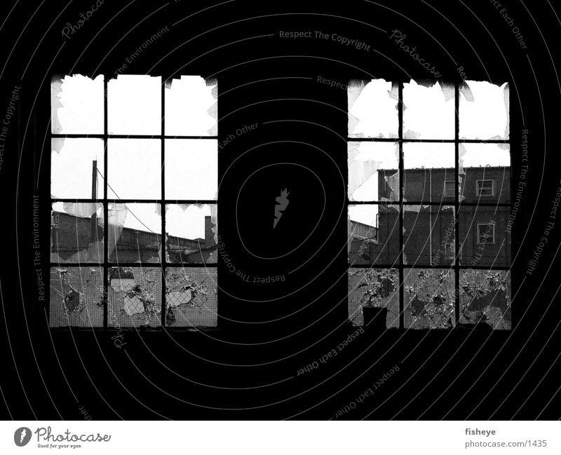Two windows Grating Broken Ruin Shard Historic Glass Black & white photo