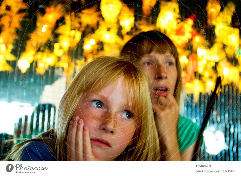 Daughter and Mother Girl Woman Grief Light Light (Natural Phenomenon) Orange Concentrate look Puzzle Blonde Red-haired mirrors source of light lightning effect