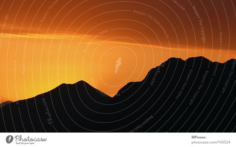 Beautiful Sky Summer Vacation & Travel Calm Black Colour Relaxation Mountain Dream Landscape Orange Vantage point Italy Sunset Dusk