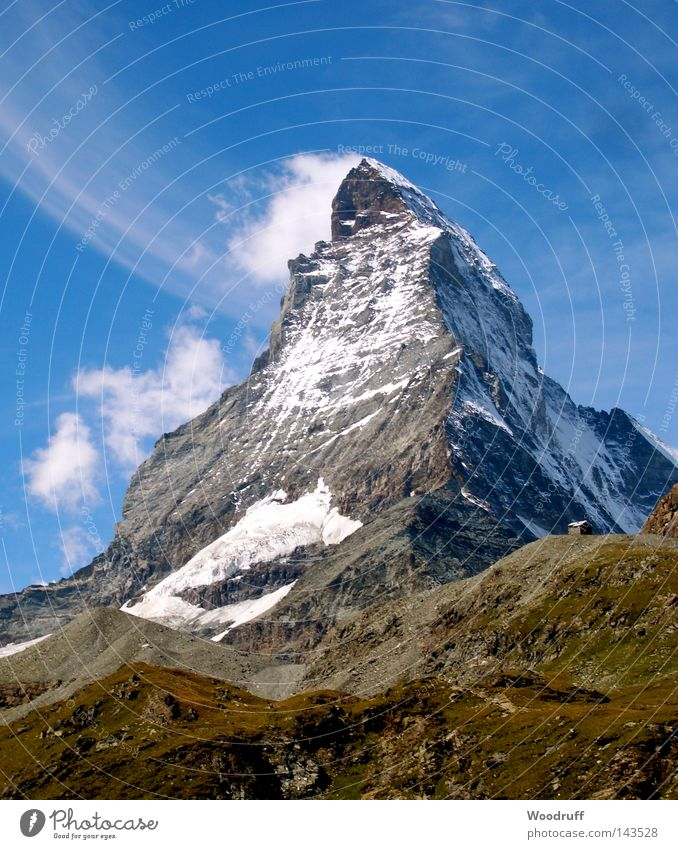 Smokey Mountain Matterhorn Zermatt Switzerland Large Impressive Famousness Tourist Tourism Mountaineer Gravel Stony Hotel Alps Green Sparse Snow White Cold Sky