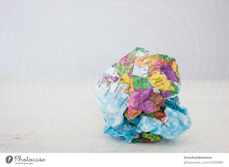 Broken World Earth Climate change Paper Sign Sphere Globe Gloomy Multicoloured Fear of the future Dangerous Anger Aggression Force Chaos Communicate War Fiasco