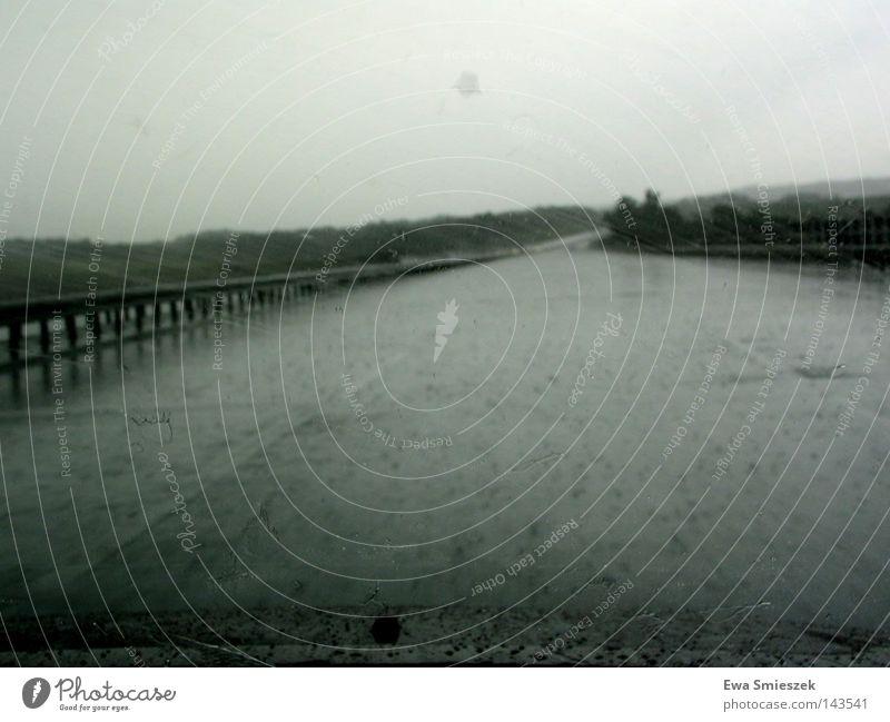 Far-off places Street Dark Lanes & trails Rain Drops of water Wet Bridge Driving River Longing Highway Traffic infrastructure Vociferous