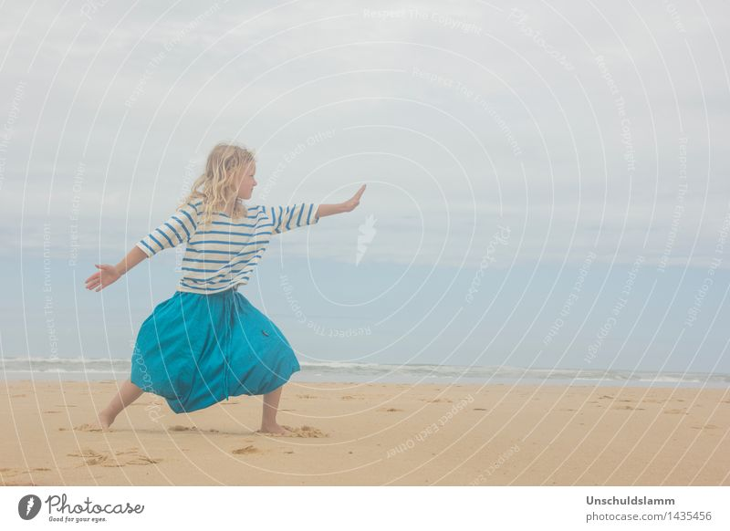 Human being Child Vacation & Travel Summer Relaxation Ocean Calm Girl Beach Life Lifestyle Moody Contentment Leisure and hobbies Waves Idyll