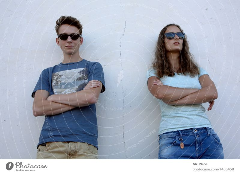 Human being Blue White Wall (building) Emotions Feminine Lifestyle Fashion Couple Together Facade Masculine Cool (slang) Posture T-shirt Hip & trendy