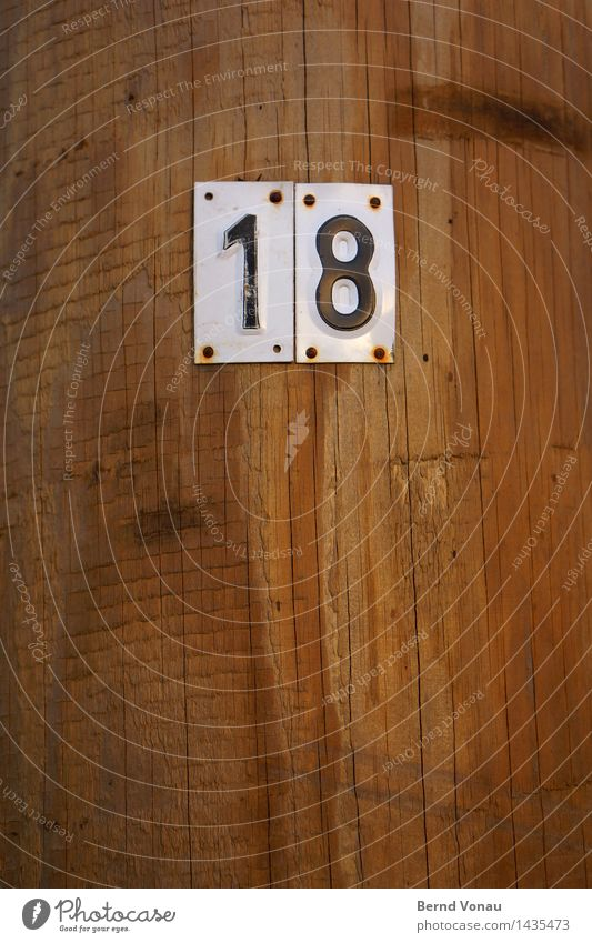 White Black Wood Brown Signs and labeling Electricity Digits and numbers Rust Crack & Rip & Tear 18 Nail Wood grain Fastening Pole Enamel sign