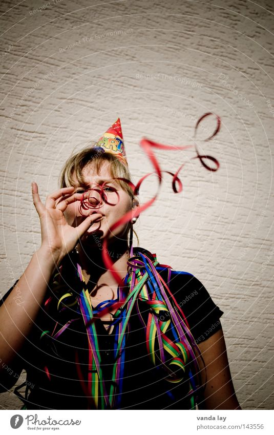 ...to behind Wuppertal... Party Birthday Feasts & Celebrations Paper streamers Hat Blow Joy Woman Blonde Carnival Yek Life Whim Good Music New Year's Eve