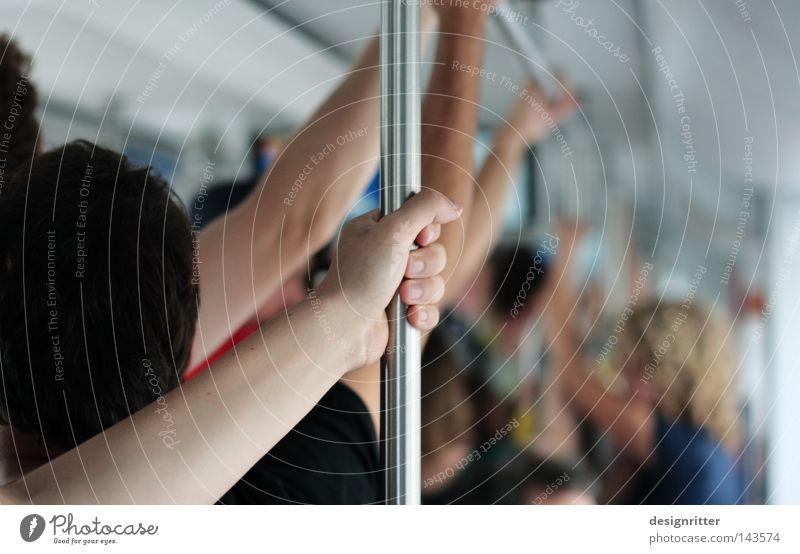 Human being Public transit Movement Together Railroad Driving Touch To hold on Near Underground Crowd of people Narrow Dynamics Odor Door handle Full