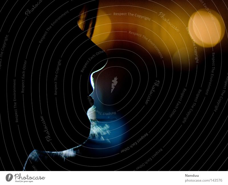 light profile Woman Dark Silhouette Human being Face Head Light Chin Nose Romance Calm Peace Night Flair Night life Feasts & Celebrations Cold Physics Blur