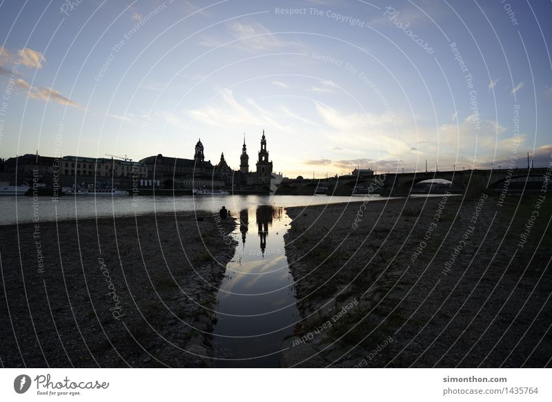 thresh Architecture Landscape River bank Elbe Dresden Germany Europe Small Town Downtown Old town Skyline Church Bridge Manmade structures Building