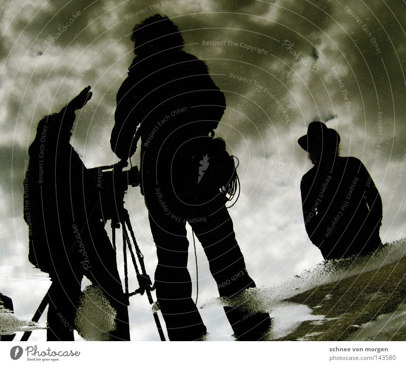 Man Winter Clouds Feet Photography Communicate Cable Camera Media Speech Video camera Tone Puddle Guide Clay