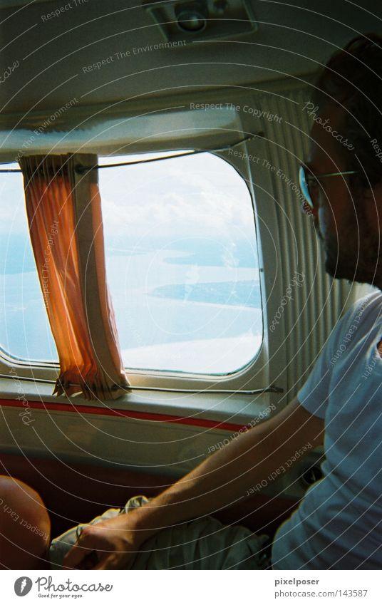 Ocean Summer Window Orange Airplane Flying T-shirt Drape Bad weather Light aircraft