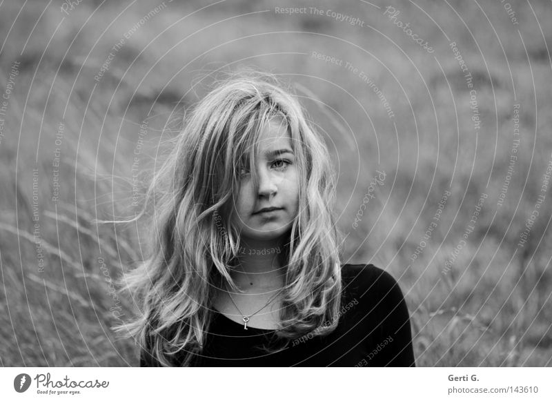 Child Youth (Young adults) Beautiful Girl Black Face Dark Gray Grass Hair and hairstyles Bright Field Blonde Wind Wild Stand