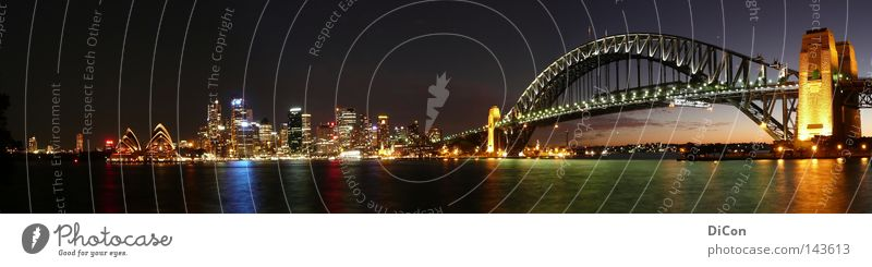 Sydney Australia New South Wales Night life Harbour Sydney Opera House Dark Sunset Sky Town Light Harbour Bridge Tourism Art Water Reflection Glittering Lamp