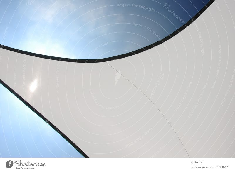 awning Sail Sun sail Protection Shadow Stars Summer Beautiful weather Bend Arch Parable Stitching Clouds Sky Hover Tall Above Corner Lighting Radiation