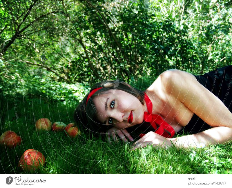 Alice in Wonderland Portrait photograph Forest Grass Green Red Bow Dress Woman Apple Lie Eyes red lips Summer