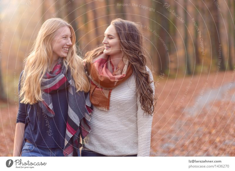 Two female friends walking through autumn woodland Lifestyle Style Joy Happy Face Sun Woman Adults Friendship Hand 2 Human being 13 - 18 years