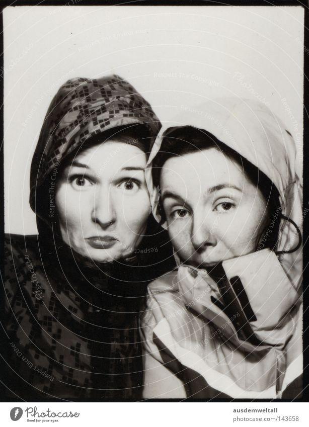 Normal Woman Feminine Hooded (clothing) Stupid Muddled Jacket 2 Black & white photo Crazy Looking Eyes