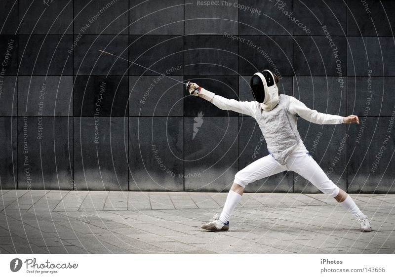 street knight. Gray Wall (barrier) Suit Uniform Defensive Weapon Wall (building) Fight Fencing Stand Attack Protection Man Masculine Brave Stockings Gloves