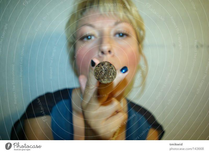 Got light? Woman Blonde Fingers Fisheye Fish eyes Cigar Blow up