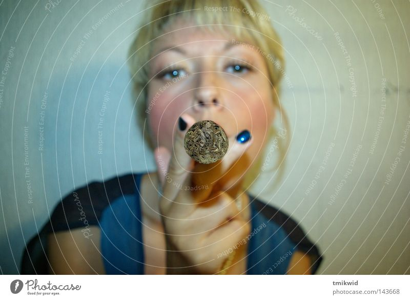 Got light? Woman Cigar Fish eyes Fingers Fisheye Blonde Blow up nails