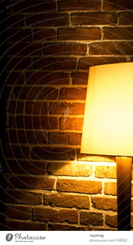 Yellow Lamp Wall (barrier) Decoration Brick Craft (trade) Mirror image Seam Lampshade Standard lamp