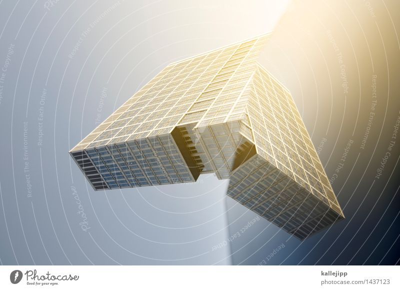 tie fighter Town High-rise Manmade structures Building Architecture Facade Window Change Future Spacecraft Universe Flying Wing Colour photo Exterior shot
