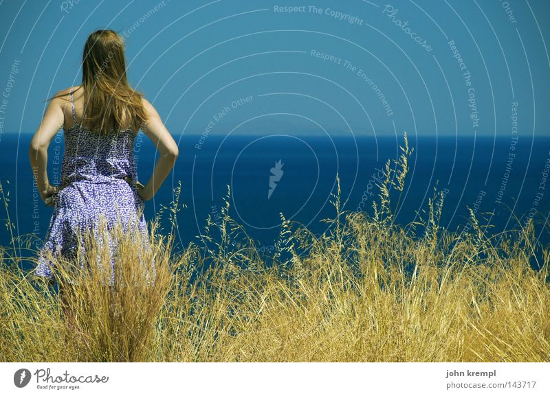 Sky Blue Water Ocean Summer Far-off places Yellow Grass Hair and hairstyles Wind Dress Longing Violet Navigation Lust Wanderlust