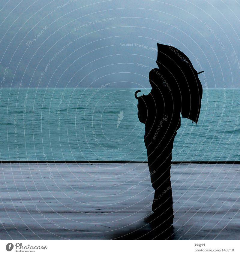 Human being Man Water Sky Ocean Blue Loneliness Mountain Gray Lake Rain Drops of water 3 Roof Switzerland Harbour