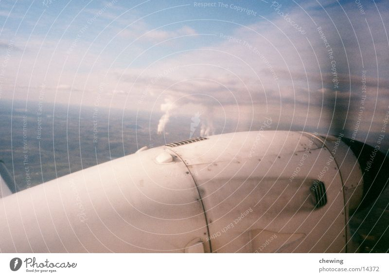 airplane Wing Clouds Propeller Aviation Sky Sun Blue