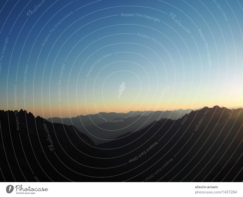 the early bird Nature Landscape Sky Sunrise Sunset Summer Alps Mountain Hiking Blue Gold Twilight Colour photo Exterior shot Copy Space top Morning Dawn Shadow
