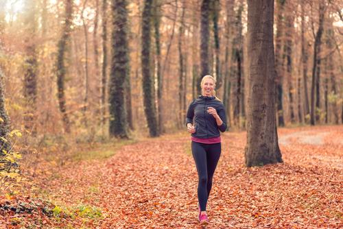 Pretty fit young woman jogging in woodland Woman Nature Forest Face Adults Autumn Sports Lifestyle Fresh Body Blonde Smiling Fitness Diet Conceptual design