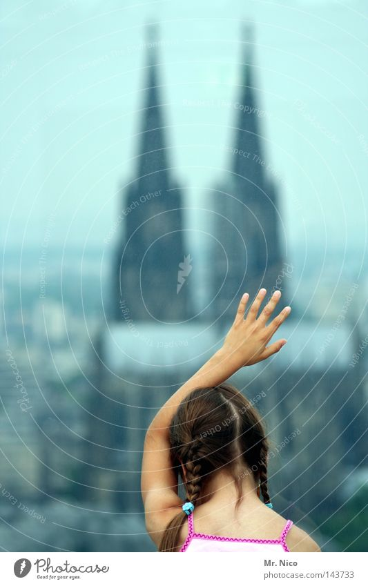 Touch me! Hand Fingers 5 Fingernail Braids Plaited Nape Religion and faith Catholicism Clergyman Town Vantage point Lookout tower Panorama (View) Pane Glazing