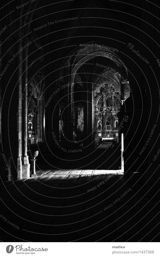 entree Deserted Church Manmade structures Wall (barrier) Wall (building) Stone Dark Hope Altar Bright spot Mystery Black & white photo Interior shot
