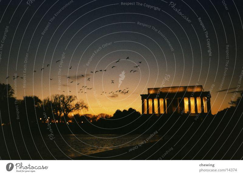 Abraham Lincoln President Evening Lighting Building Human being Washington DC USA Past Dusk Lincoln Memorial Reflecting Pool