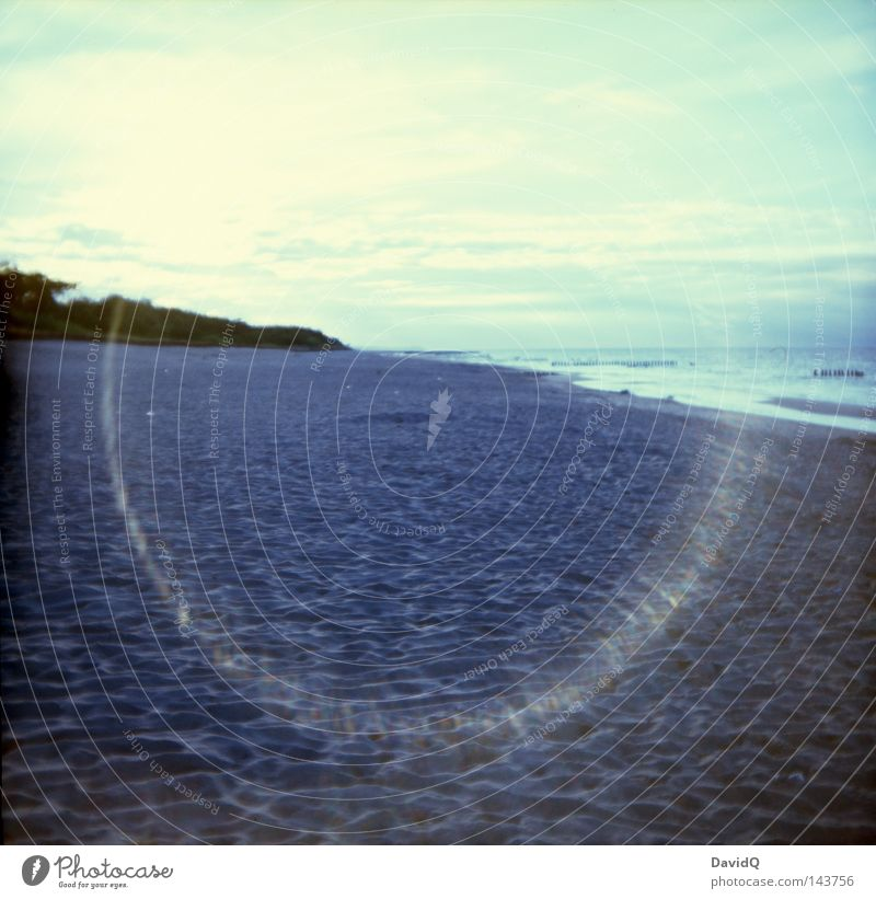 halo Ocean Lake Body of water Waves Surf Swell Wave action Beach Sandy beach Bathing place Coast Lakeside Clouds Horizon Summer Lomography Baltic Sea large pond