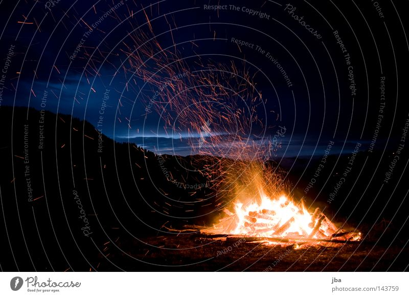 1st of August Fire Switzerland National Day Ensign Nationalities and ethnicity Night Evening Embers Physics Hot Ashes Twilight Clouds Vantage point Mountain