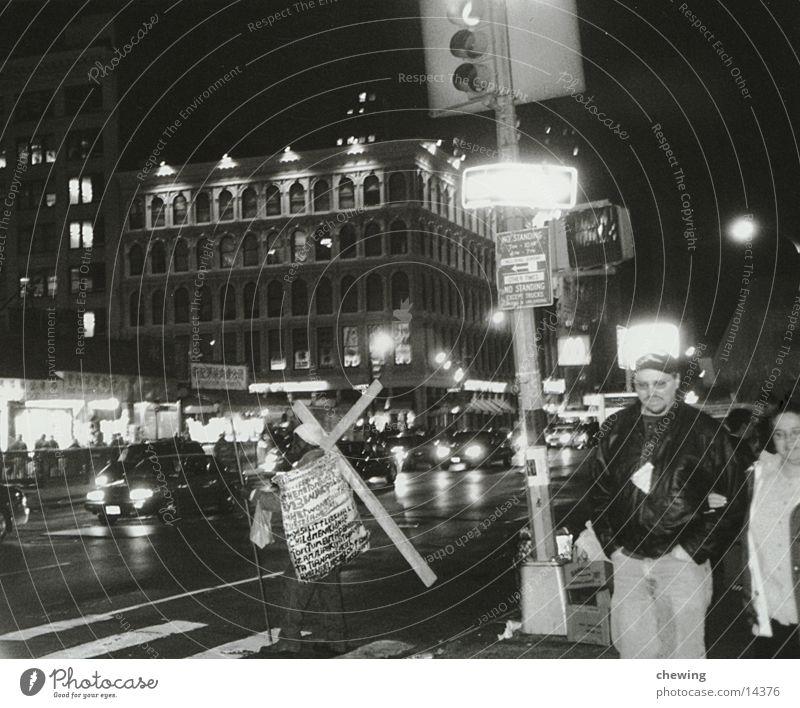 new york New York City Town Quarter North America USA Black & white photo cross Street