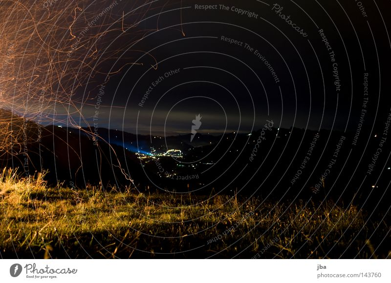 1 August National Day Patriotism Switzerland Fire Embers Real estate Meadow Vantage point Clouds Village Light Lighting Grass Blade of grass Sky Long exposure