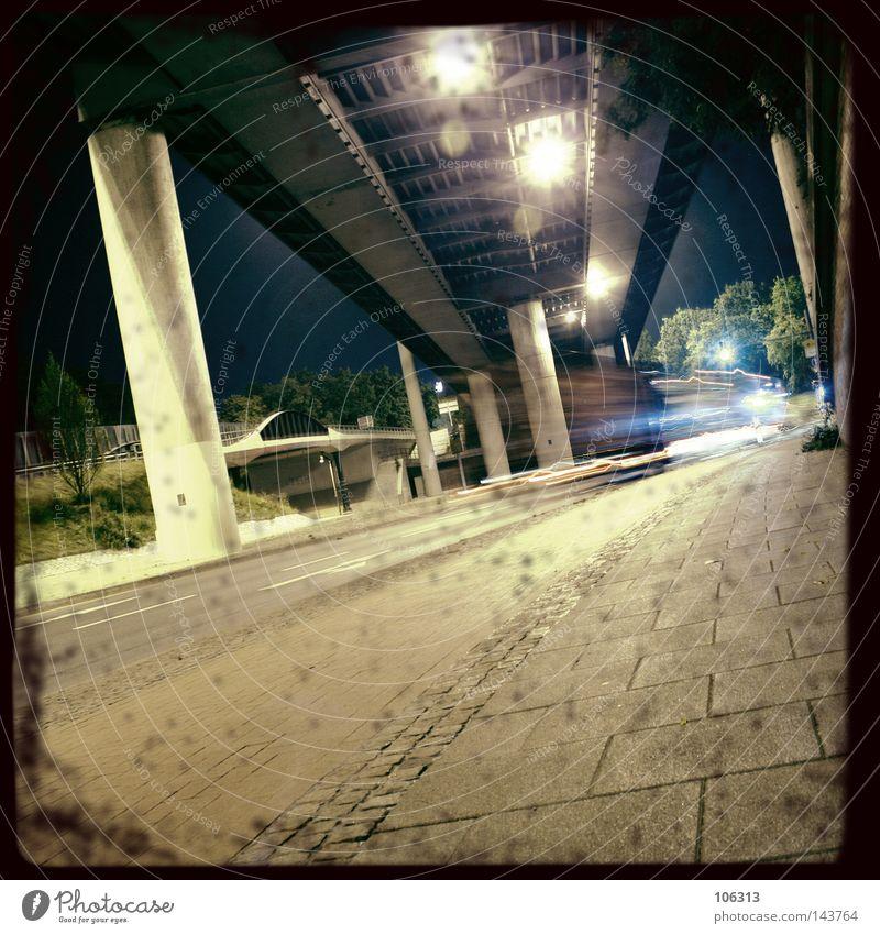 BIG CITY NIGHTS [PT.2] Town Light Dark Shadow Long exposure Column Insight Movement Dynamics Overpass Bremen Night Carrier Street Traffic lane Bridge Snapshot