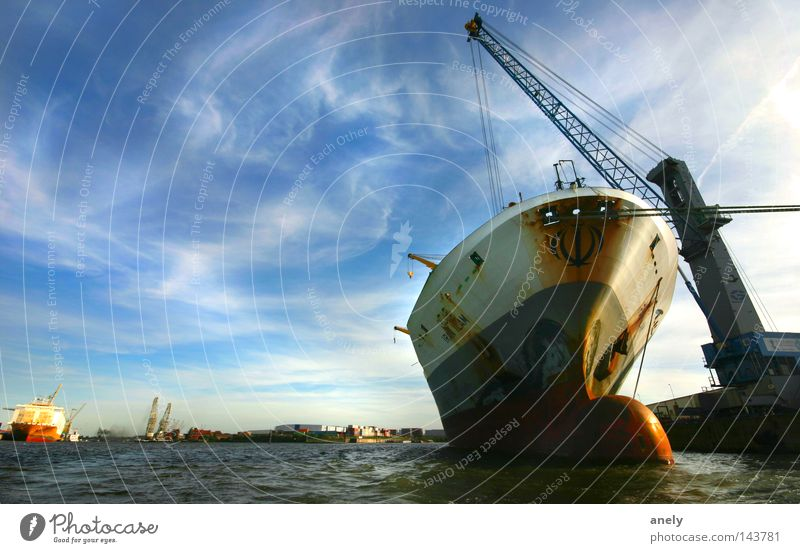 Water Sky Clouds Watercraft Moody Hamburg River Harbour Navigation Wide angle Crane Container Elbe Load International Motor barge