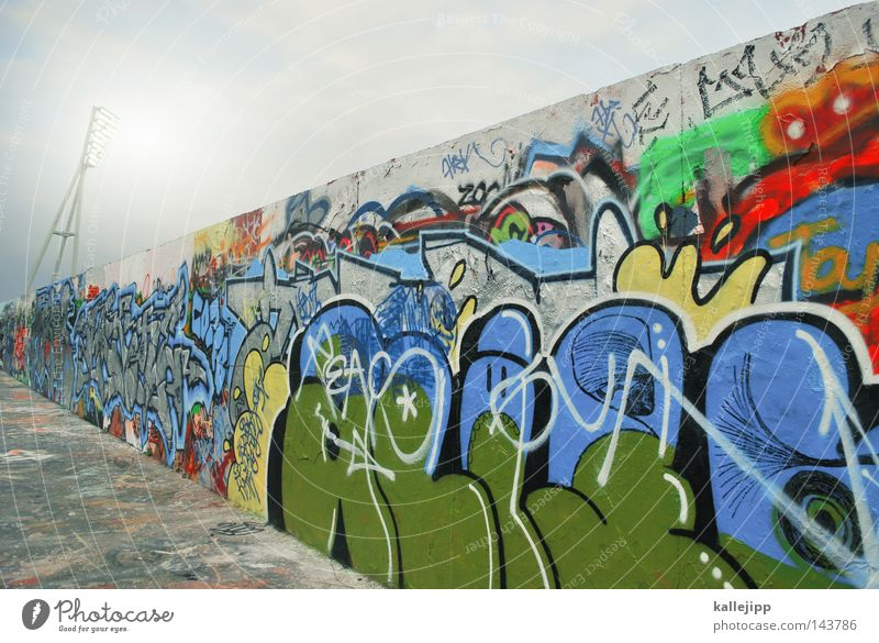 Sky City Wall (building) Graffiti Playing Berlin Architecture Gray Lanes & trails Wall (barrier) Style Art Wild Modern Characters Lifestyle