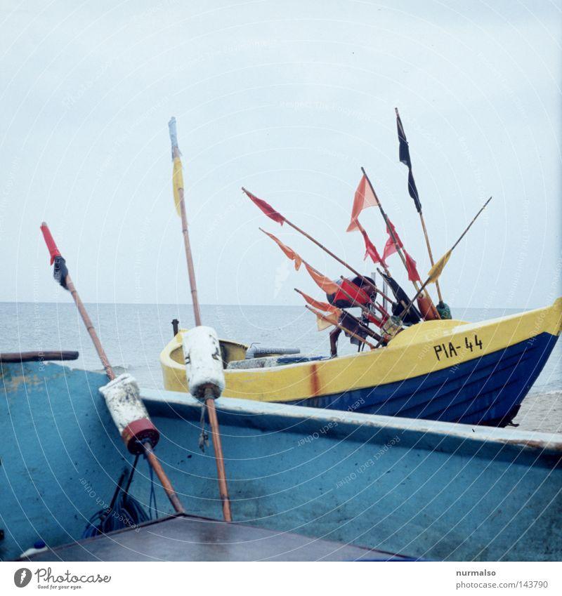 Ocean Blue Beach Loneliness Colour Work and employment Gray Rain Watercraft Wet Horizon Empty Fish Flag Infinity