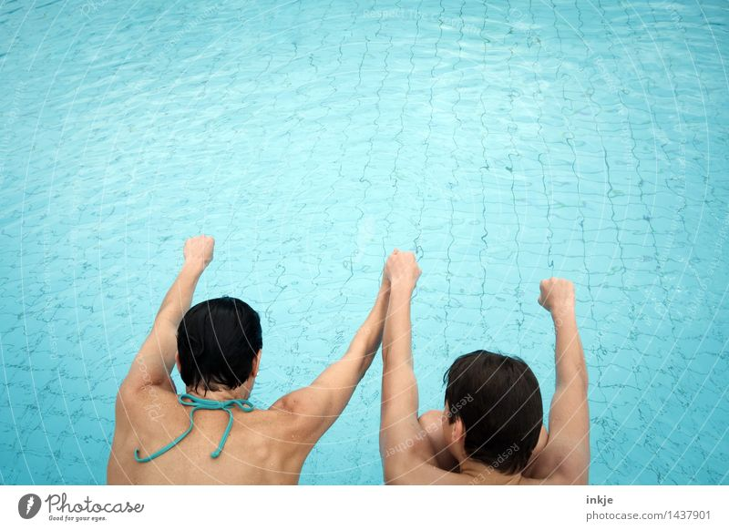 3,2,1.... Lifestyle Joy Swimming pool Swimming & Bathing Leisure and hobbies Vacation & Travel Summer Parenting Boy (child) Woman Adults Mother