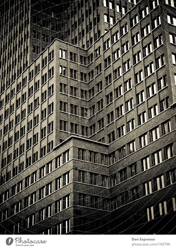 SINCITY Town Black Dark Berlin High-rise Facade House (Residential Structure) Window Contrast Eerie Fear Threat Night Creepy Panic Black & white photo noir