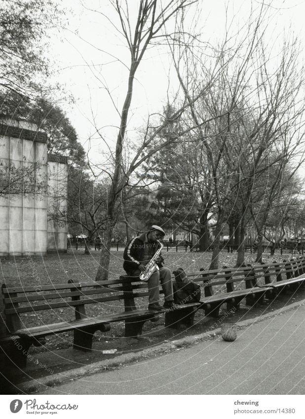 jazz musician New York City Saxophone USA Black & white photo Music Manhattan Park Park bench Busker Saxophon player