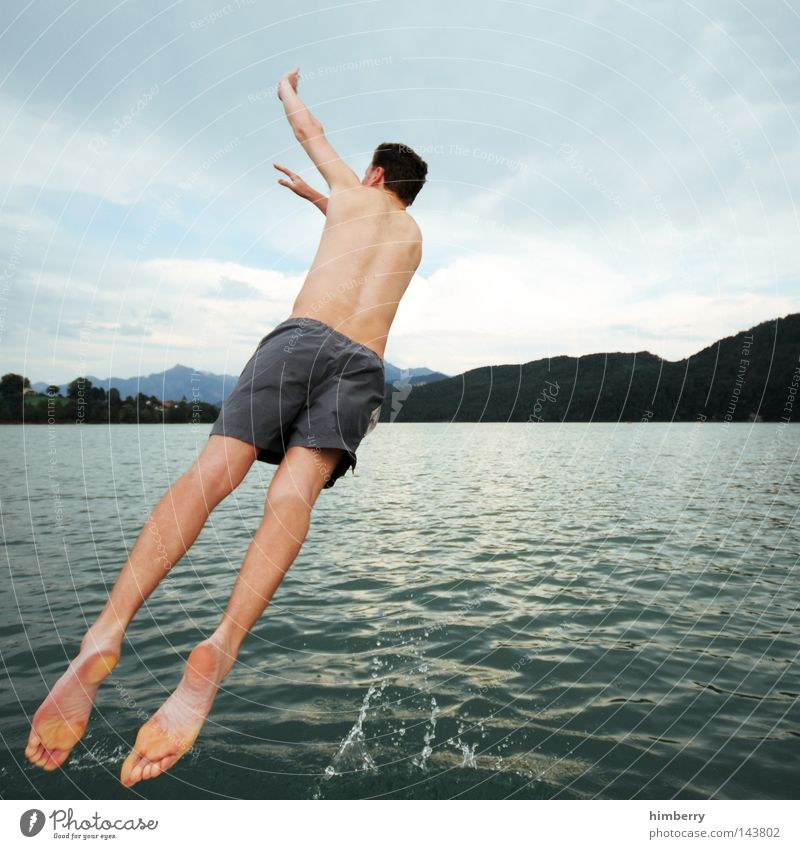 Sky Man Youth (Young adults) Hand Vacation & Travel Relaxation Mountain Jump Lake Germany Weather Watercraft Body Leisure and hobbies Swimming & Bathing Large
