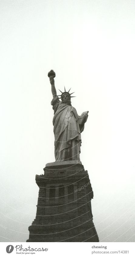Statue of Liberty New York City USA Black & white photo Sculpture Landmark Attraction Tourist Attraction Isolated Image Copy Space top Freedom Fairness