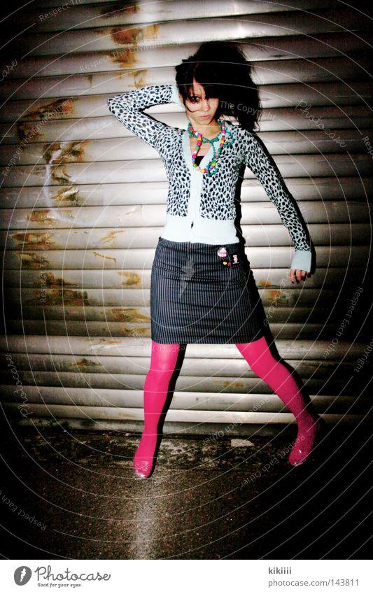 PINk Jump Beautiful Skirt Striped Tights Pink Roller shutter Floodlight Garage Silver Panther Light blue Hair and hairstyles Black Joy Effort Flash photo Dark
